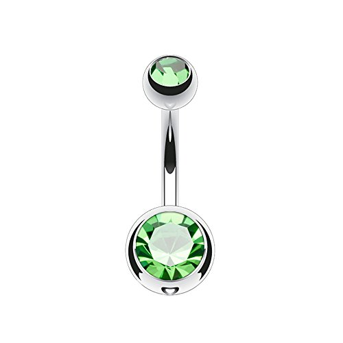 Dynamique 14g Double Gem Ball Belly Button Ring Grade 23 Solid Titanium 5/16