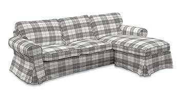 Bezug Für IKEA IKEA EKTORP 2er Sofa Mit Recamiere DUNDEE Kariert Hellgrau  Von Saustark Design