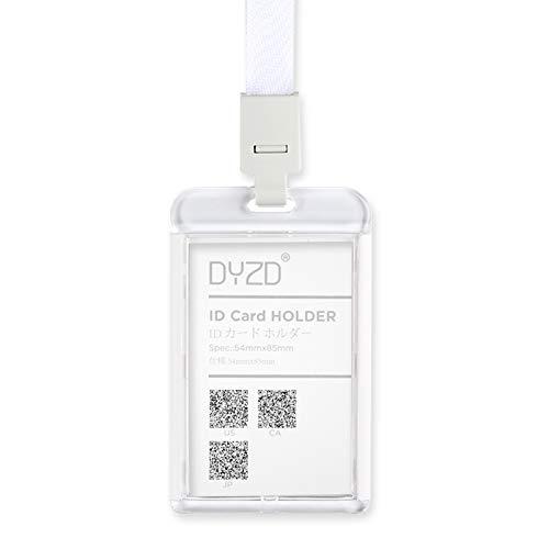 DYZD Badge Holders Hard Plastic ID Card Holders Waterproof ID Holder with Neck Lanyards ID Badge Card Holder (White,6 PCS) - Acrylic Badge