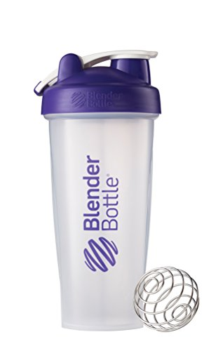 BlenderBottle Classic Loop Top Shaker Bottle, Clear/Purple, 28-Ounce Loop Top