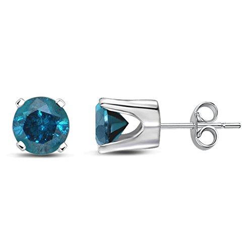 Diamond Jewel 14K White Gold Blue Diamond Stud Earrings Mother's Day Special (Jewelry Diamond Mens)