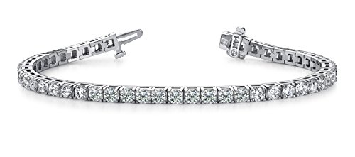 10 Carat Classic Diamond Tennis Bracelet 14K White Gold Value Collection by Diamond Manufacturers USA