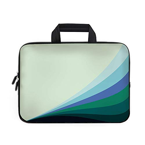 (Teal Laptop Carrying Bag Sleeve,Neoprene Sleeve Case/Wavy Lines in Various Shades of Blue Abstract Artwork Vibrant Pattern Decorative/for Apple MacBook Air Samsung Google Acer HP DELL Lenovo AsusPale)