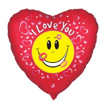 Price comparison product image Valentine's Day Balloon - 18 Inch 'I Love You' Smiley Face Heart Mylar Balloon