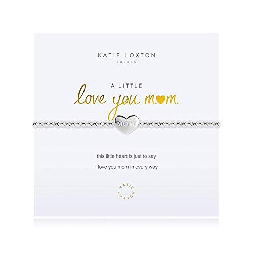 Plated Stretch Bracelet Beaded Silver (Katie Loxton A Little Love You Mom Silver Women's Stretch Charm Bangle Bracelet)