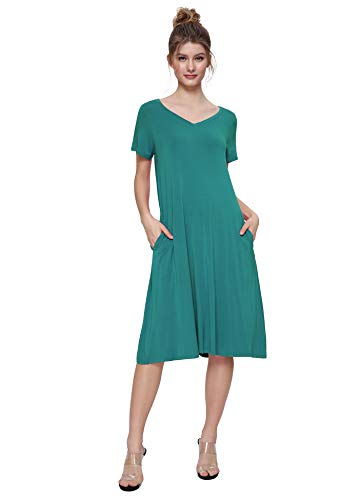 (Weintee Women's T-Shirt Dress V-Neck Casual Dress with Pockets 2X Teal Green)