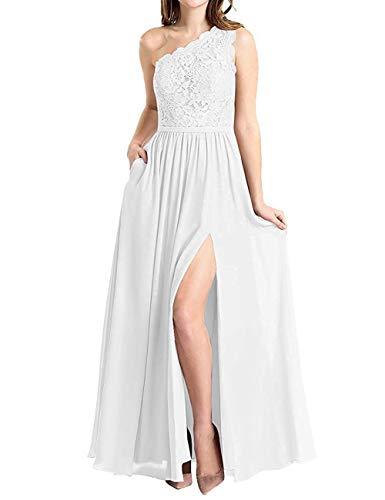 BBCbridal Women's One Shoulder Long Evening Dress Lace Chiffon Bridesmaid Dress Side Split Prom Gowns White Size 2