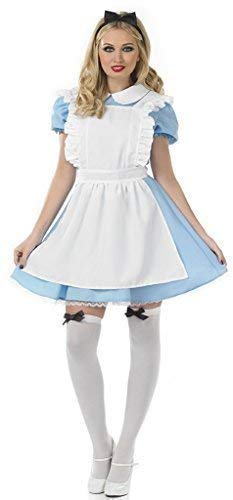 Ladies 4 Piece Traditional Alice in Wonderland + Stockings Fairy Tale Hen Do Book Day Fancy Dress Costume Outfit 8-22 Plus Size (UK 12-14) -