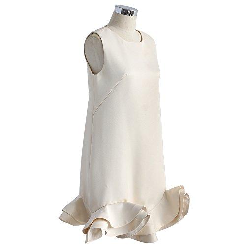 Beige Dress Silky Peplum Party Shift Ruffled Women's Chicwish wxqaPFB4B