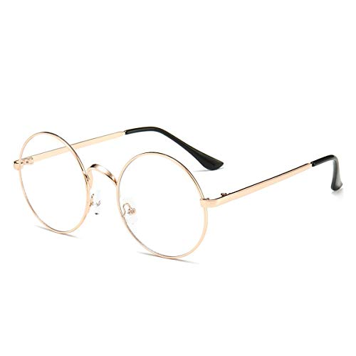 Retro Round Glasses Clear Lens Non-Prescription for Men Women Metal Frame Rose Gold