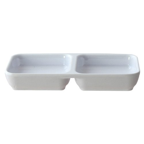 Twin Compartment Soy Sauce Dinnerware Dish Set (4 Pack), White Melamine Side Dishes, Holding 4 oz, Set of 4 for Fruit, Soy Sauce, Chilli Sauce, Vinegar, Small Appetizers & Snacks …