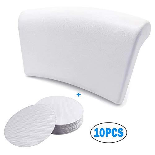 Gdaya Cuscino Bagno, Vasca da Bagno Cuscino Morbido Ergonomico ed Impermeabile Bath Pillows con 2 Potenti Ventose Antiscivolo Adatto a Qualsiasi Modello di Vasca Bianco