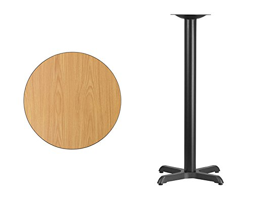Offex 24'' Round Natural Laminate Table Top with 22'' x 22'' Bar Height Table Base by Offex (Image #1)