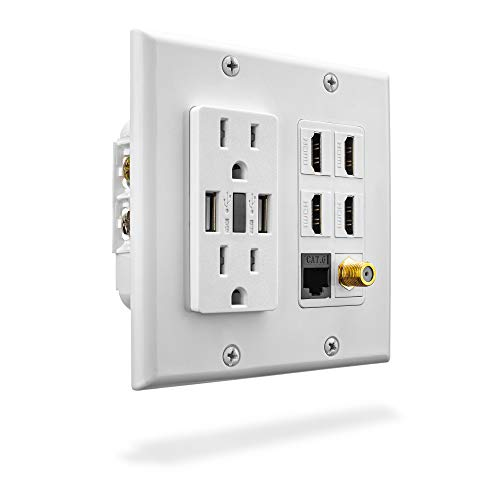 Premium Media Wall Outlet | Dual 3.4A USB Outlet - 15A Dual Power Outlet - Cat6 Rj45 Ethernet Port - 4 HDMI Port - Coax Cable Wall Plate - White Dual Gang Face Plate (Premium Outlets La)