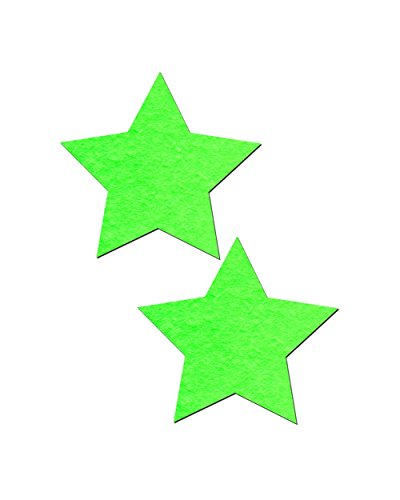 Pastease Glow in the Dark Green Star Rave Pasties (2 Pack Nipple Covers) - Sexy Neon Outfits