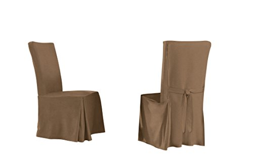 Serta Relaxed Fit Smooth Dining Chair, Long Skirt (6 Pack), Taupe, 6 Piece