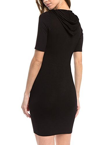 Sleeve Bodycon Solid B Short Size S Hooded Dress Bubble 3X Women's Black To ZWqIFwWT