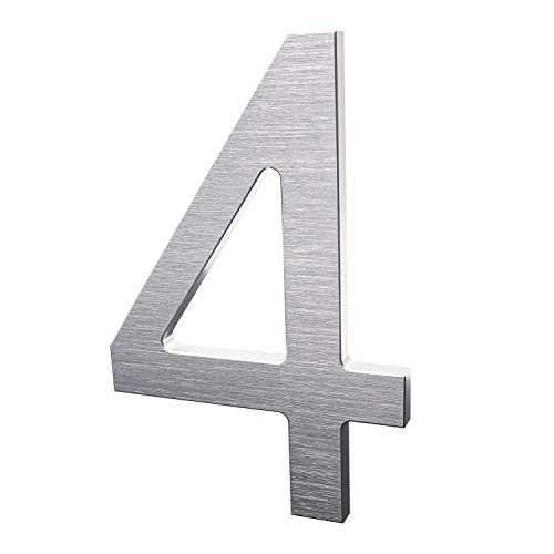 - 6 Inch Modern House Numbers- Premium Aluminum Floating Home Address Number with Exquisite Drawing Process, Silver, Number 4