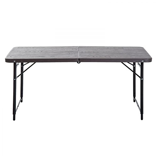 Folding Lightweight Rectangle Picnic Desk Outdoor Height- Adjustable Camping Table With Ebook by oldzon