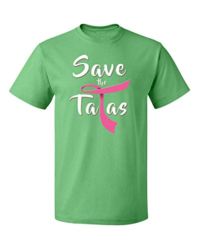 Pink Save The Tatas Breast Cancer Awearness Men's T-Shirts Crew Neck Tee Shirts for Men(Green,Small) ()