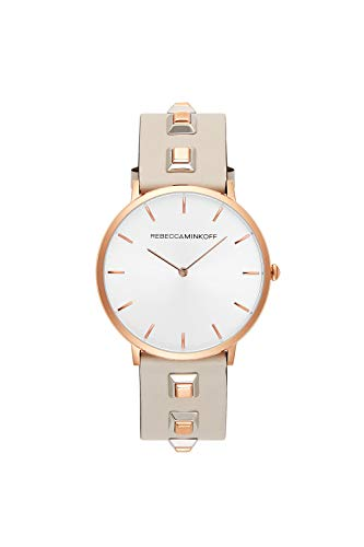 Rebecca Minkoff Major Quartz Stainless Steel and Leather Casual Watch, Color: Grey (Model: 2200137)