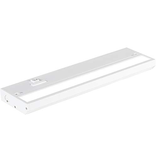 NSL LED Under Cabinet Lighting Dimmable Hardwired or Plugged-in Installation - 3 Color Temperature Slide Switch - Warm White (2700K), Soft White (3000K), Cool White (4000K) - 12 Inch White Finish