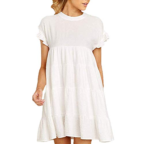 CCatyam Dresses for Women, Ruffle Sleeve Solid Mini Swing Loose Sexy Beach Casual Party Fashion White