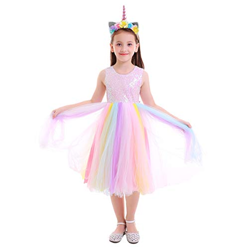 FYMNSI Princess Girls Unicorn Birthday Party Sequin Sleeveless Rainbow Dress Up Costume + Headband 7-8 Years ()