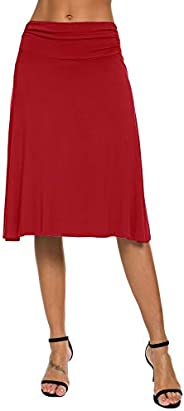 EXCHIC Women's Solid Stretch Ruched Waistband Flared Midi Yoga Skirt