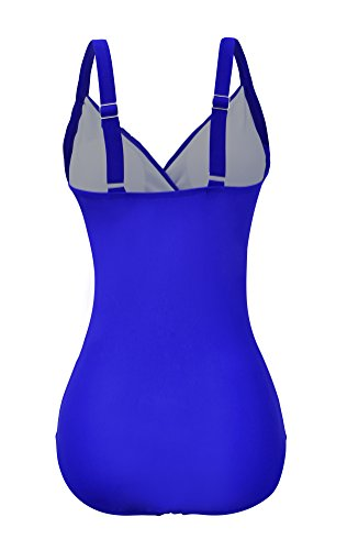 44aecfe1831 Zando Women s Tummy Control Swimsuit Mesh Vintage Ruched Swimwear Strappy One  Piece Slimming Plus Size Bathing Suit