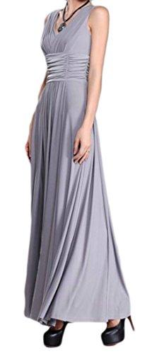 Womens Pleated Sleeveless Elegant Cromoncent Swing Maxi Neck V Dresses Gray YExd75qw7