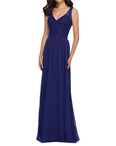 Royal Trumpet Etuikleider Brautjungfernkleider Charmant Abschlussballkleider Abendkleider Damen Spitze Blau Lang YCww08pq