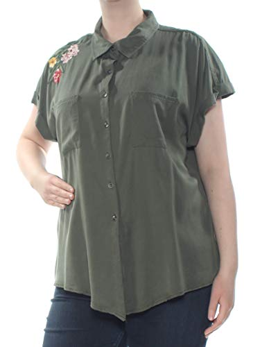(Style & Co. Womens Plus Cuff Sleeve Floral Button-Down Top Green 2X)