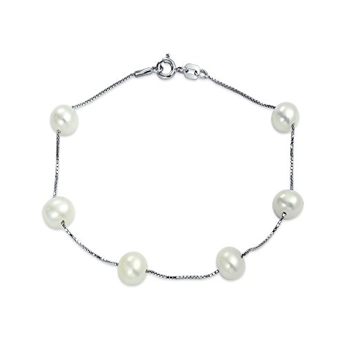 - Sterling Silver Tin Cup White Freshwater Cultured Pearl Station Bracelet