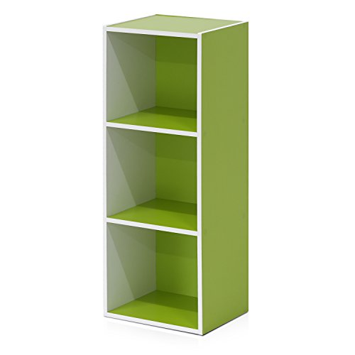- Furinno Pasir 3-Tier Open Shelf Bookcase, White/Green 11003WH/GR