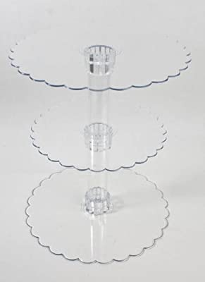 14-1/4 Inch Tall Three Tier Cupcake or Cake Stand with Scalloped Eges Made of Clear Hard Acrylic - Mix and Match Use As a One Tier, Two Tier or Three Tier - Center Tube Is Hollow and Can Be Filled If Desired from Wedding Collection
