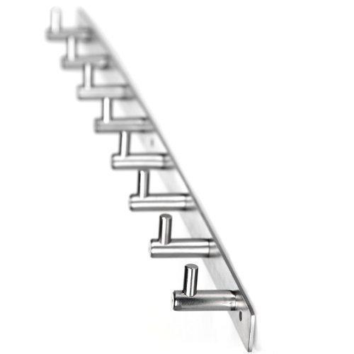 Wall Mount Coat Hook,8 Hooks Heavy Duty Coat and Hat Hook Rail,Stainless Steel,Ultra Strong Life-Long Lasting Hanger for Robe Coat Towel Keys Bags Home Kitchen Bathroom Garden Garage