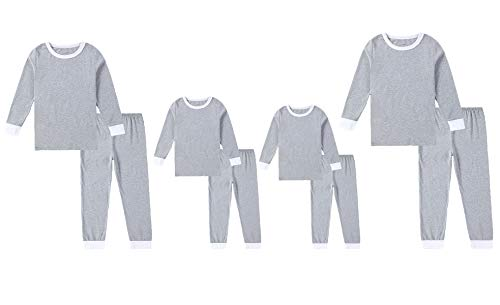 Matching Family Mom and Dad Clothes Boys Girls Organic Cotton Pajamas Gray Kids Sleepwear (Light Gray-Kid, 2T)