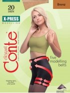 Conte America Top Quality Pantyhose Control Top with 7 Shaping Belts X-PRESS 20 den (5 - XLarge, Bronze)