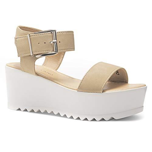 Herstyle Carita Women's Open Toe Ankle Strap Platform Wedge Sandal Beige 7.5