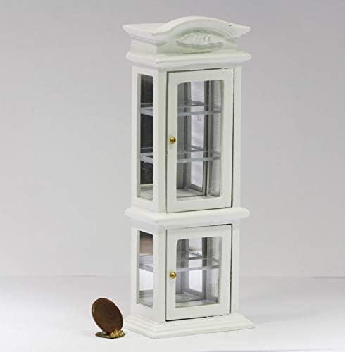 Melody Jane Dollhouse White Mirrored China Curio Display Cabinet Miniature Shop Furniture