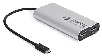 Plugable Thunderbolt 3 Dual HDMI Display Adapter for Thunderbolt 3 Apple Mac and Select Windows Systems (Supports Up to Two 4K 60Hz Monitors)