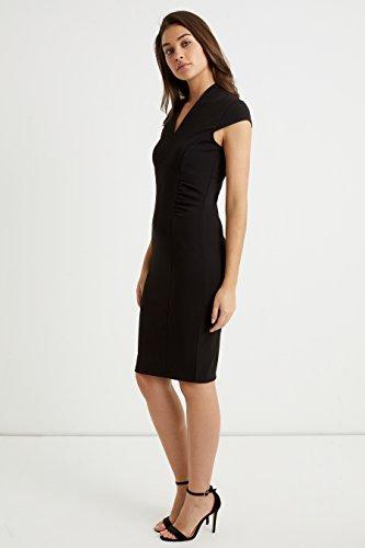 Und Damen Rüschen Lipsy Figurbetontes Kleid Ausschnitt V Schwarz Mit pYRTxq7