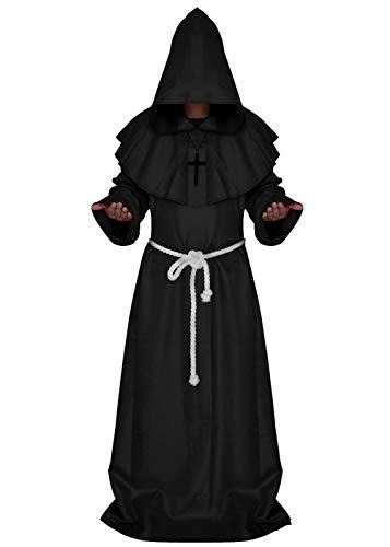ALIZIWAY Friar Medieval Monk Priest Hooded Robe Renaissance Cloak Halloween Cosplay Costume Y052BXL Black