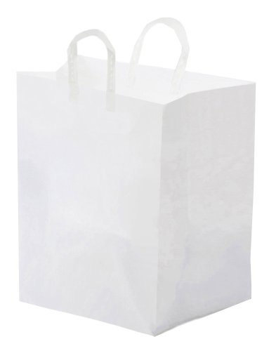 Glopack SFLPWTPE Large Take-Out Shopper Bag with Folded Loop Handle, 16'' Length x 12'' Width (Case of 250) by Glopack