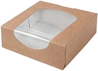 BIOZOYG Caja para pastelería Color marrón 600ml I Embalaje compostables Regalo cartón con Ventana de visualización de PLA I Patisserie Caja Torta pequeña I 250x Cajas de Regalo 11.8 x 11.8 x4cm: