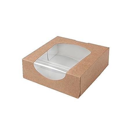 BIOZOYG Caja para pastelería Color marrón 600ml I Embalaje compostables Regalo cartón con Ventana de visualización