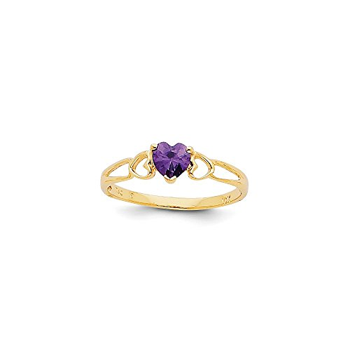 14k Yellow Gold Polished Amethyst Ring - Size 7