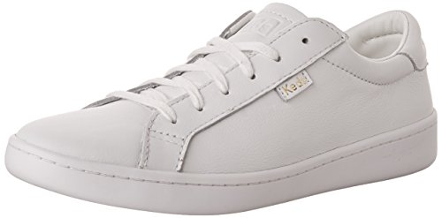 (Keds Women's Ace Leather Fashion Sneaker, White, 8.5 M US)