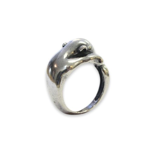 Solid Cast Silver Plated White Bronze Baby Polar Bear Ring Sizes 6 to 9.5